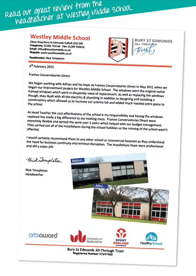 Testimonial from Westley school headmaster